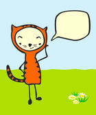 Cute cartoon kid in cat costume with speech bubble
