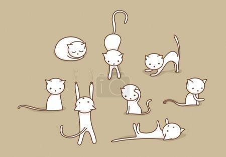 Illustration pour Doodle blanc mignons chats dans diverses positions - image libre de droit
