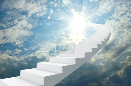 Photo for Abstract white ladder against the blue sky with shining rays - Royalty Free Image