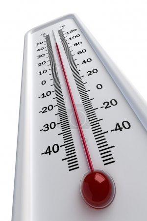 Photo pour Au thermomètre sur fond blanc - image libre de droit