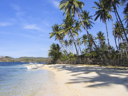 Banka outrigger tropical beach philippines
