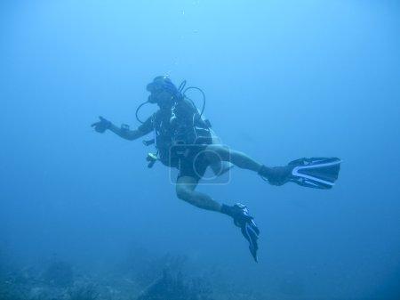 Scuba diver underwater sabang philippines