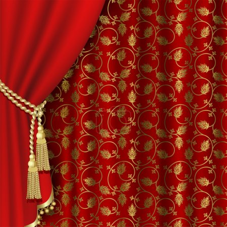 Illustration for Red curtain with gold pattern. Clipping Mask - Royalty Free Image