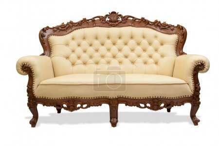 Photo for Classical carved wooden chair upholstered in leather - Royalty Free Image