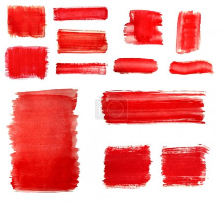 Set of Red paint drawn with brush stroke