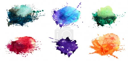 Photo for Set of watercolor abstract hand painted backgrounds - Royalty Free Image