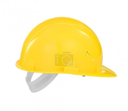 Yellow safety builder hard hat isolated with clipping path inclu