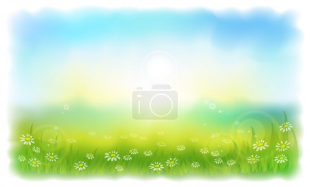 Illustration for Sun-drenched meadow with daisies. Sunny summer day outdoors. Vector illustration Simulating watercolor.. - Royalty Free Image
