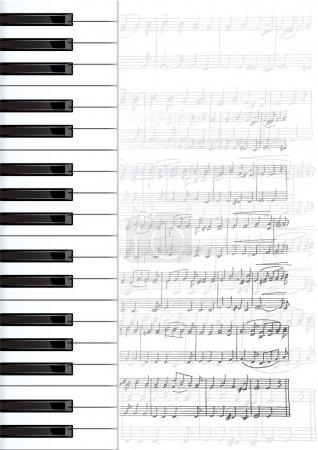 Illustration pour Les notes et les touches du piano. Vector background. - image libre de droit