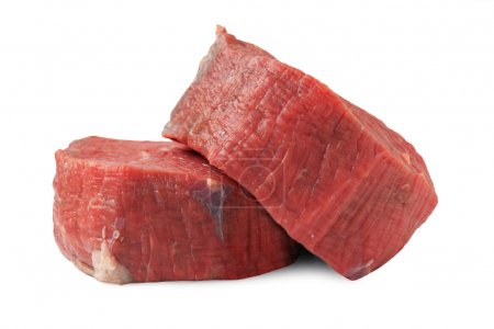 Two raw fillet steaks isolated on white + Clipping...