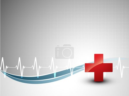 Illustration for Medical background with heart beat and plus sign - Royalty Free Image