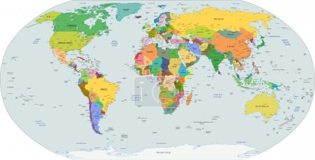 Global political map of the world, vector