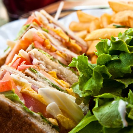 Photo for Sandwich with chicken, cheese and golden French fries potatoes - Royalty Free Image