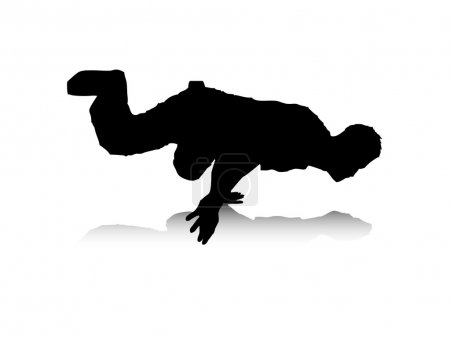 Illustration pour Illustration vectorielle abstraite d'un danseur de break, qui équilibre d'une part . - image libre de droit