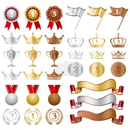Gold Silver bronze Awards Set