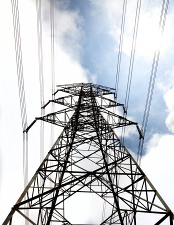 Power tower with cloud background