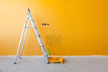 Photo for Home Improvement / ladder, paint can and paint roller - Royalty Free Image