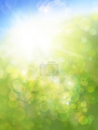 Photo for Eco nature / green and blue abstract defocused background with sunshine - Royalty Free Image