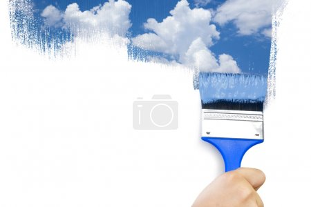 Painting sky / isolated on white with real paints texture / copy