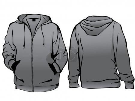 Jacket or sweatshirt template with zipper