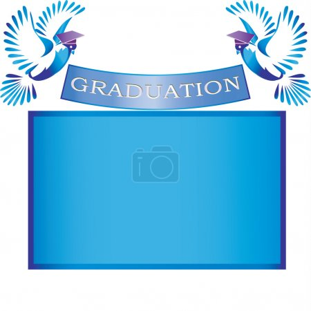 Illustration for Graduation banner with doves,mortar and copy space - Royalty Free Image