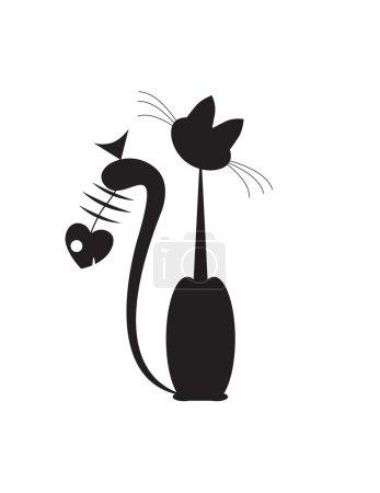 Photo pour Silluete abstrait pour chat et poisson - image libre de droit