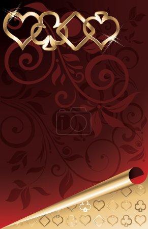 Poker golden background, vector illustration