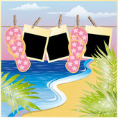 Summer beach card with photo frame in scrapbooking style vector illustration