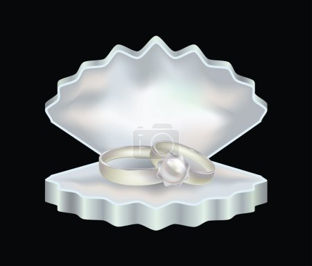 Pearl rings in a shell-box for jewelry, vector illustration