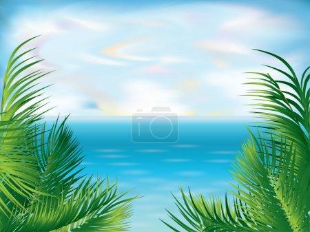 Illustration pour Beau fond tropical d'été, illustration vectorielle - image libre de droit