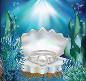 Underwater card with pearl ring, vector