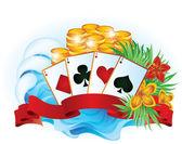 Tropical summer poker vector illustration