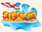 Dětské letní karta, vektorové ilustrace