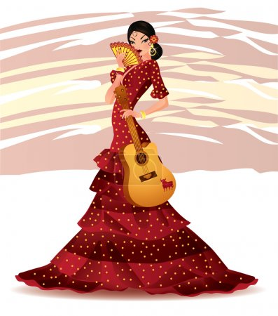 Illustration for Beautiful Spanish girl with guitar, vector illustration - Royalty Free Image