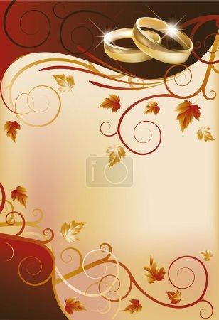 Autumn wedding invitation card, vector illustration