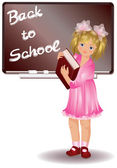 School girl with book vector illustration
