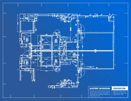 Photo pour Exemple de plans architecturaux sur fond bleu - image libre de droit