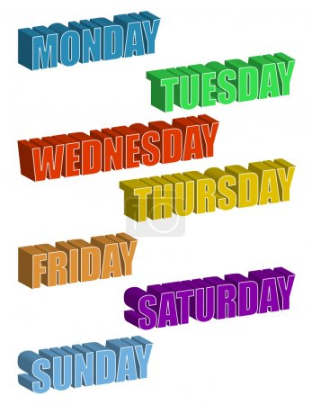 Text. Days of the Week isolated over a white background / Days of the Week