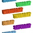 Text. Days of the Week isolated over a white backg...