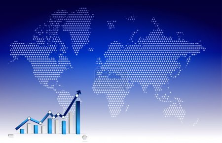 Business graph with world background illustration design