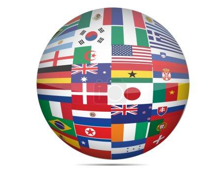 Photo pour Drapeaux du monde sous forme de globe sur fond blanc. - image libre de droit
