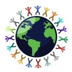 Multi-cultural children holding hands surrounding ...