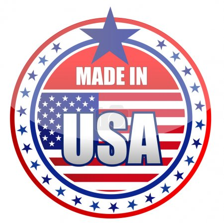 Circular illustration made in USA stamp isolated o...