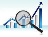 Zvětšovací sklo nad horní modré obchodní graf