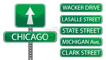 Chicago street signs isolated over white