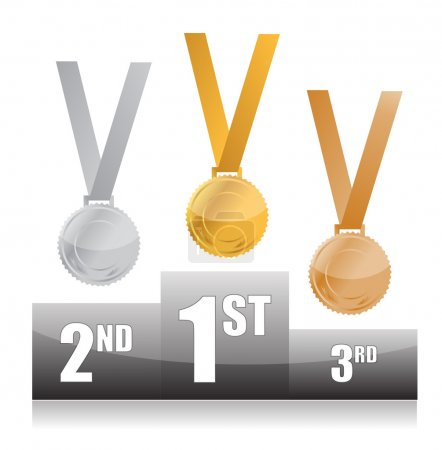 Podium with gold, silver and bronze medals