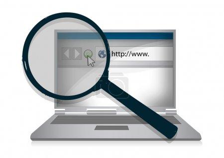 Photo pour Illustration d'ordinateur portable et une loupe devant lui pour représenter la recherche sur Internet . - image libre de droit