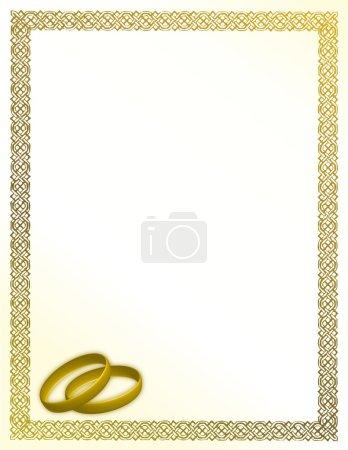 weiße Hochzeitskarte mit Liebesringen und goldenem Rand.