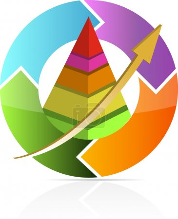 Continuous business move pyramid chart illustration design