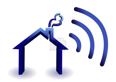 Photo for Home wireless connection illustration isolated over white - Royalty Free Image